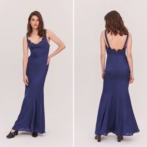 FAME AND PARTNERS Ara Satin Gown Navy NWT 10